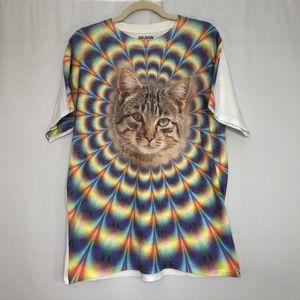 Hippie Trippy Cat T-Shirt Men's Size Large